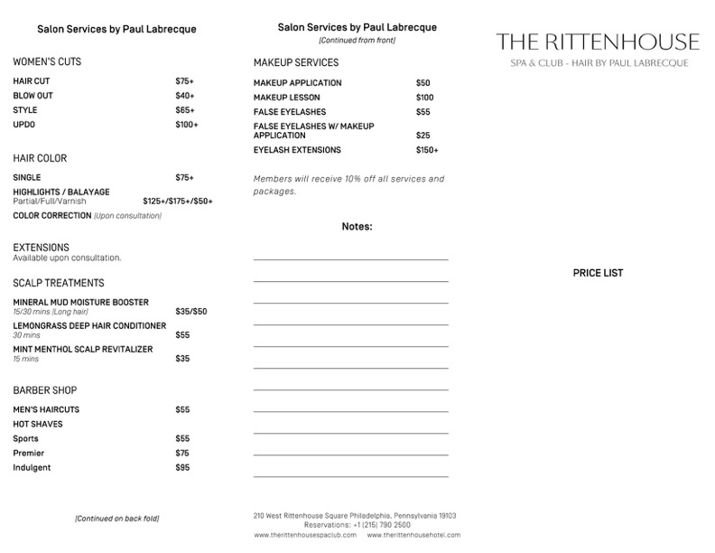 Rittenhouse Spa Pricing Menu