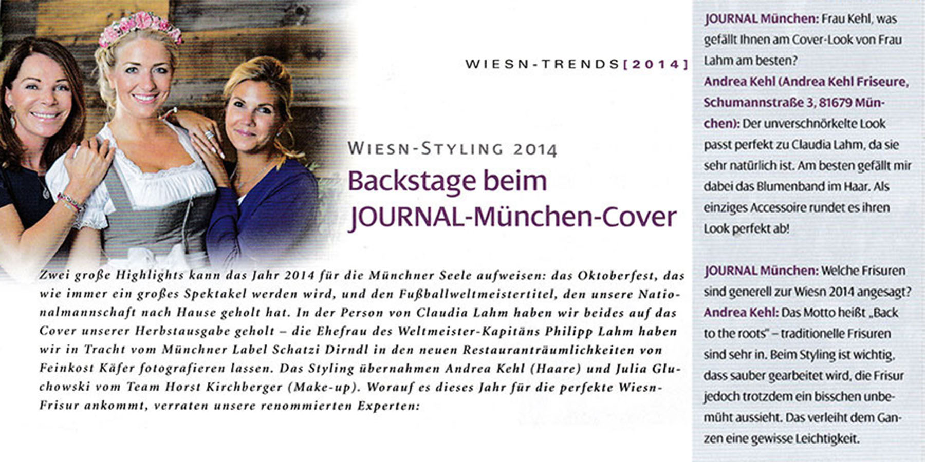 Oktoberfest Styling 2014 - Backstage for Journal Munich - Claudia Lahm for Andrea Kehl